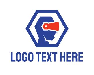 Augmented Reality - Polygon VR Head logo design