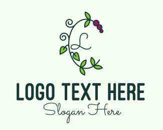 Vines - Grapevine Vine Letter logo design