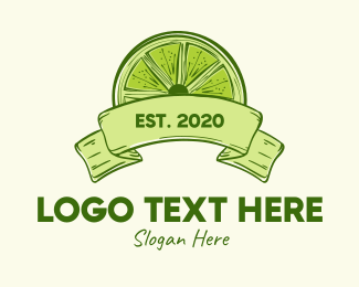 Lemon - Rustic Green Lime Slice logo design