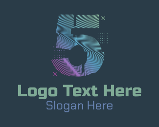 Five - Modern Glitch Number 5 logo design