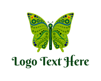 Crystal - Green Butterfly logo design