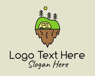Accommodation - Minimalist Nature Camp logo design