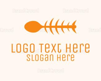 Creature - Orange Spoon Fish logo design