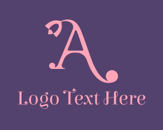 Calligraphy - Pink Florist Letter A  logo design