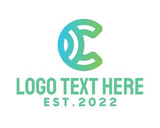 Initial - Green Letter C logo design
