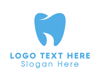 Blue Tooth - Abstract Blue Dentist Dental Tooth logo design