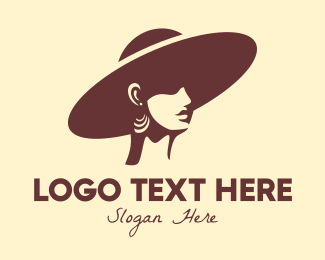 Floppy Hat - Beautiful Fashionista Woman logo design