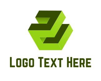 Cubic - Green 3D Cube logo design