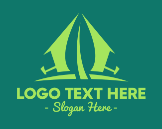 Tent - Green Camp logo design