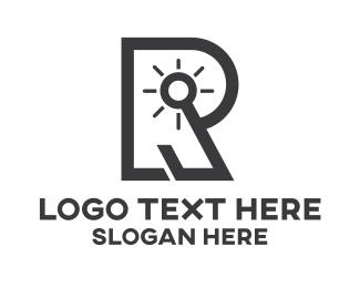Illumination - Light Bulb R Outline logo design