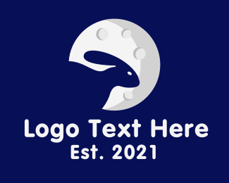 Negative Space - Space Rabbit Moon logo design