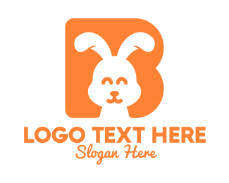 Fluffy - Happy Orange Bunny logo design