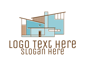 Drywall - Modern House Architecture  logo design