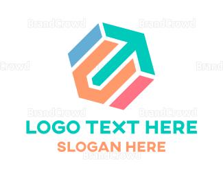 Saas - Hexagonal Arrow logo design