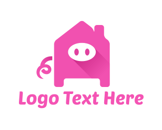 Pink House - Pig Home  logo design