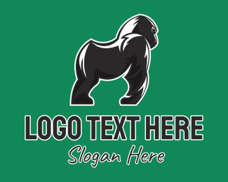 Ape - Black Gorilla Zoo Character logo design