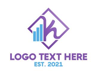 Stock Broker - Violet Feminine Chart logo design