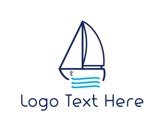 Sailboat - Blue Sailboat logo design