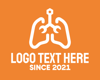 Lung Disease - Respiratory Lungs Wrench logo design