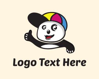Baseball Hat - Cute Panda Kids logo design
