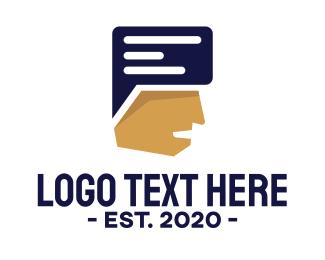 Customer Support - Chat Men logo design