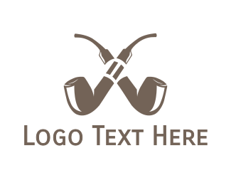 Smoker - Double Pipe Cigar logo design