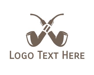 Cigar - Double Pipe Cigar logo design