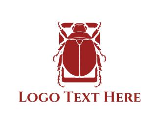Egyptian - Red Beetle logo design