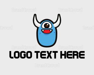 Smiling - Cute Blue Monster logo design