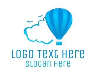 Flight - Blue Air Balloon logo design