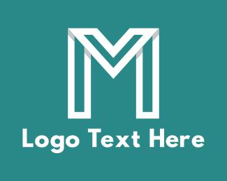 Turquoise - Modern White Letter M logo design