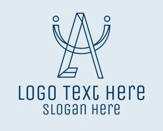 Astrological - Geometric Blue Letter A  logo design