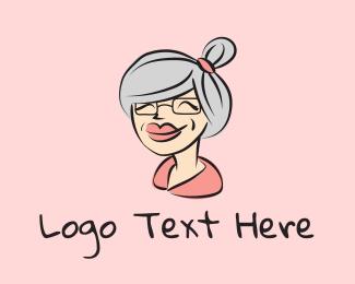 Mother - Cute Grandma Character logo design