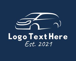 Auto Detailer - White Van Car  logo design