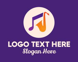 Music Band - Saxophone Musical Instrument logo design