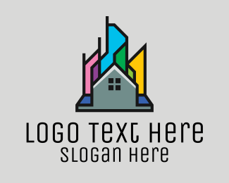 Town House - Colorful City Home logo design