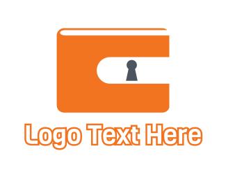 Lock - Orange Wallet Lock  logo design