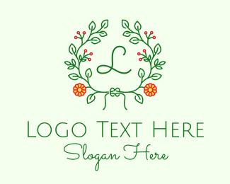 Event Styling - Floral Wreath Letter  logo design