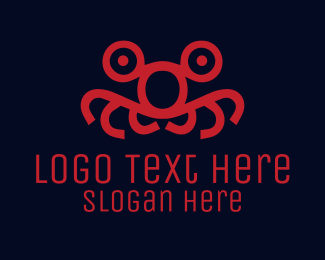 Squid - Red Monster Face  logo design