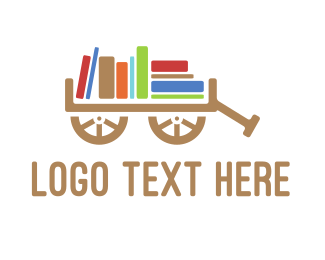 Literacy - Book Cart logo design