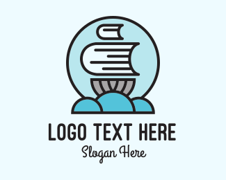 Pirate Ship - Book Sail Badge logo design