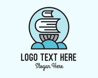 Literacy - Book Sail Badge logo design