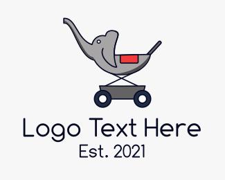 Baby Boutique - Elephant Baby Stroller logo design