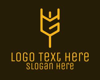 Mythology - Letter G Trident logo design