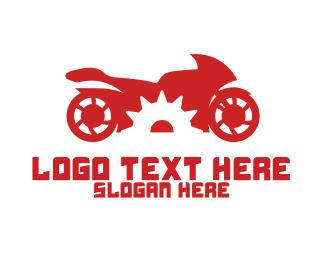 Courier - Red Motorcycle Gear logo design