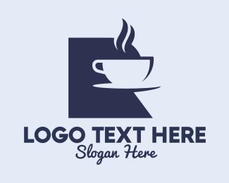 Latte Art - Cafe Letter R logo design