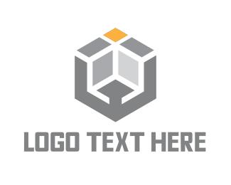 3d Printing - Modern Grey Cube logo design