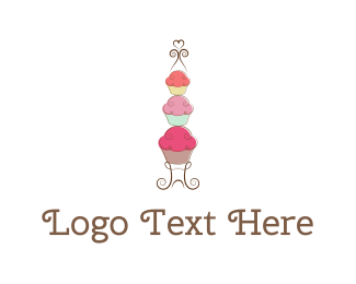 Flour - Cupcake Tower logo design