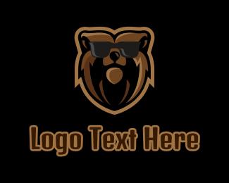 Hipster Bear Sunglasses Mascot Logo