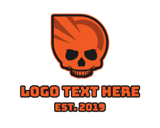 Hacker - Orange Skull Esports Gaming logo design